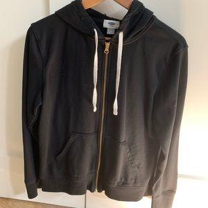 black hooded zip-up jacket